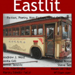 """The Eastlit August 2013 Front cover picture is """"Wooden Bus"""" by Xenia Taiga. The picture was aken in China. The Eastlit August 2013 cover is designed by Graham Lawrence. Copyright Graham Lawrence and Eastlit."""
