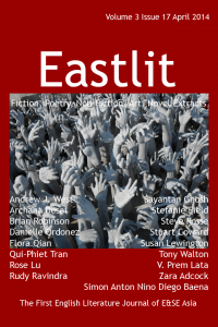"Popular Asian Poetry, Fiction & Art. Eastlit April 2014 Cover designed by Graham Lawrence. The cover picture is ""Hands"". It is by Stuart Coward. Copyright Eastlit and Artist."