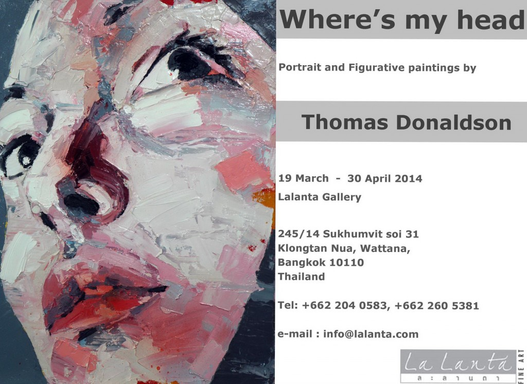 Eastlit Live Art News March 2014. Thomas Donaldson Flyer for Where is My Head Art show.