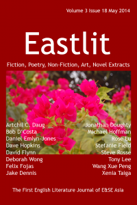 """Eastlit April 2014 Cover. The cover was designed by Graham Lawrence. The cover picture is """"Hands"""". It is by Stuart Coward. Copyright Eastlit and Artist."""
