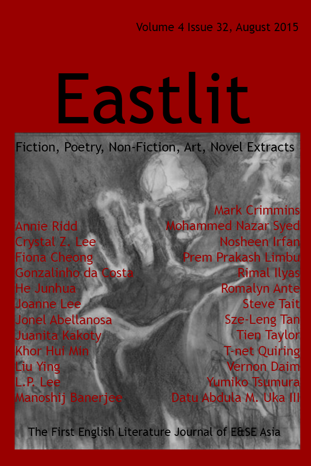 Eastlit August 2015 Cover. Picture: Hibakusha by Annie Ridd. Cover design by Graham Lawrence. Copyright photographer, Eastlit and Graham Lawrence.
