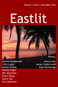 Eastlit Second Year: Cover of Issue One, First Year. Picture and Cover Design by Graham Lawrence. An evening picture of Wonnapha Beach, Chonburi, Thailand by Graham Lawrence.