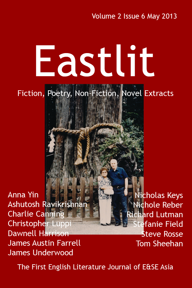 "Eastlit Issue Six Cover: The picture  is ""Renewal of Vows"" by Tom Sheehan. The cover design is by Graham Lawrence."