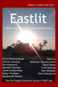 "Eastlit Journal. How it is Published. How your work reaches publication. Eastlit July 2013 picture for the front page is ""Rising"" by Sinlaratn Soontornviset."