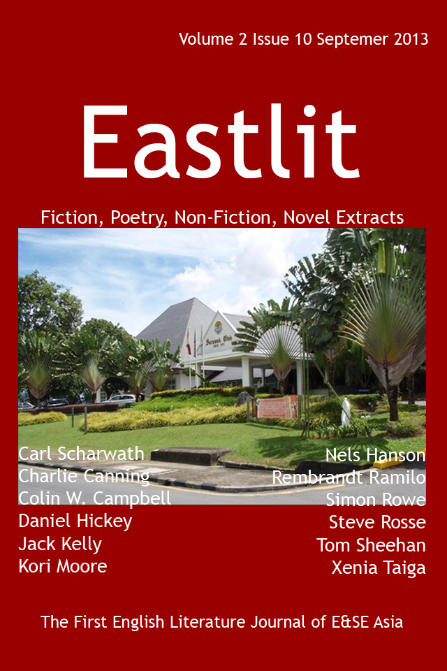 Eastlit September 2013 Cover. The Picture is The Sarawak Club. The picture is by Colin W. Campbell. The unique Eastlit September 2013 Cover Design is by Graham Lawrence. The picture and design are Copyright Eastlit and Creators. The picture is a front view of the club. The Sarawak Club is in Kuching, Sarawak, Malaysia. The club was established in 1876. It is a private members club. Eastlit September 2013 features poetry, non-fiction, fiction, short stories and a novel extract by writers old and new. You can view the complete contents of this issue by clicking on the link in this picture.