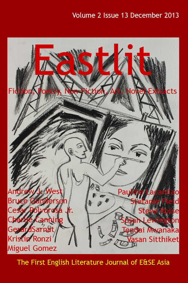 """Eastlit December 2013 Cover. The cover was designed by Graham Lawrence. The cover picture is """"The Student"""". It is by Vasan Sitthiket. Copyright Eastlit and Photographer."""