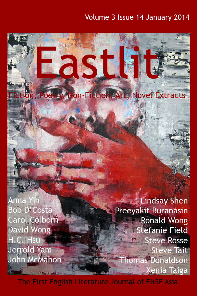 "Eastlit January 2014 Cover. The cover was designed by Graham Lawrence. The cover picture is ""Speak no Evil"". It is by Thomas Donaldson. Copyright Eastlit and Artist."