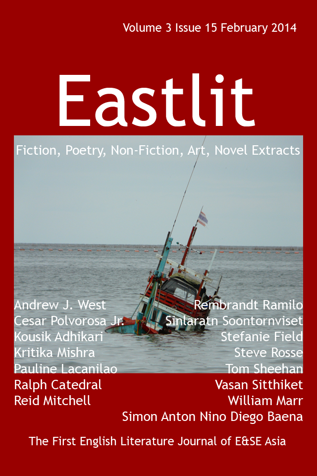 "Eastlit February 2014 Cover. The cover was designed by Graham Lawrence. The cover picture is ""Thailand"". It is by Sinlaratn Soontornviset. Copyright Eastlit and Artist."