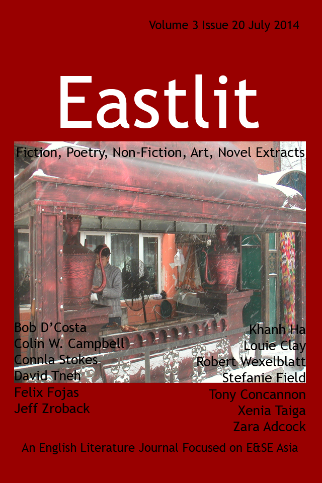 Eastlit July 2014 Cover. Picture: Uighur Barbecue by Xenia Taiga.  Cover design by GrahamLawrence. Copyright photographer, Eastlit and Graham Lawrence.