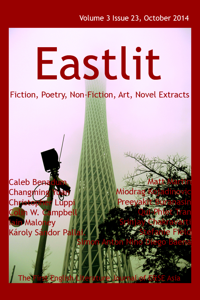 Eastlit October 2014 Cover. Picture: Canton Tower in the Mist by Miodrag Kojadinovic.  Cover design by GrahamLawrence. Copyright photographer, Eastlit and Graham Lawrence.