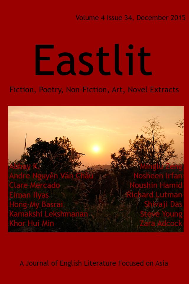 Eastlit December 2015 Cover. Picture: Sunset Near Corbett, India by Kamakshi Lekshmanan. Cover design by Graham Lawrence. Copyright photographer, Eastlit and Graham Lawrence.