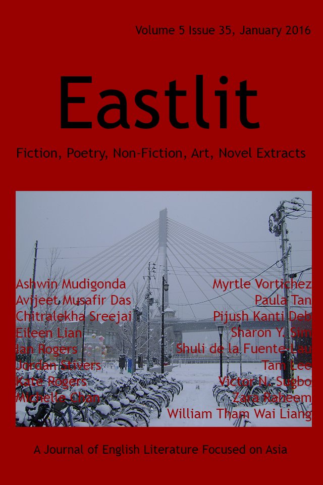 Eastlit January 2016 Cover Picture: Aomori Bay Bridge in Snow by Ian Rogers. Cover design by Graham Lawrence. Copyright photographer, Eastlit and Graham Lawrence.