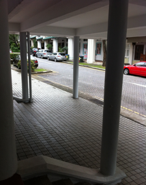 The bus bay, pillars and the main gate (of the now Chatsworth International School