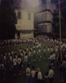 The cabbage patch and folk dance on the day the school moved from Emerald Hill to Dunearn Road